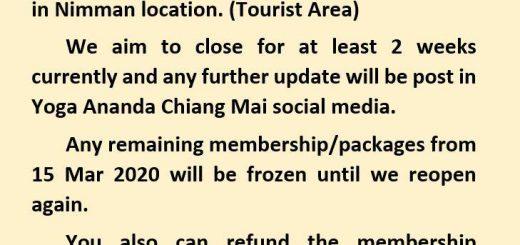 "Yoga Ananda Chiang Mai (Nimman Location) will be closed ""16 -31 Mar 2020"""